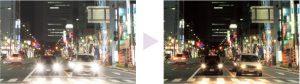 まぶしさを抑えながら視界を暗くさせない夜間運転用レンズの見え方の違い